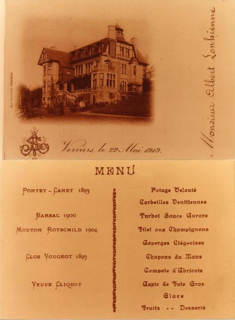 22 5 1919  - Menu de mariage Albert et Suzanne