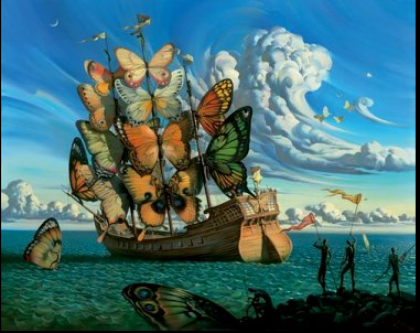 Départ du bateau ailé - Vladimir Kush